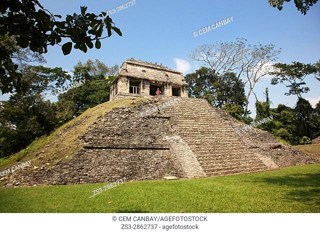 Tourist standing near the Temple of Conde-Templo del Conde in Palenque Archaeological Site, Palenque, Chiapas State, Mexico, Central America