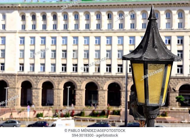Lamppost in a terrace of Serdika square, Sofia, Bulgaria