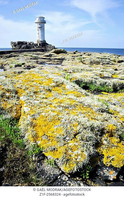 Ar Guéveur Lighthouse on Sein island in Brittany