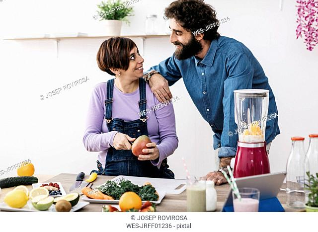 Couple in love in the kitchen