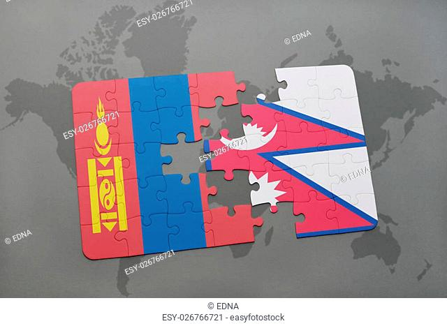 puzzle with the national flag of mongolia and nepal on a world map background. 3D illustration