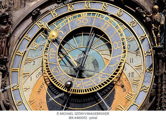 Prague Town Hall Clock, also Prague orloj or Prague astronomical clock, Pražský orloj, Prague, Czech Republic