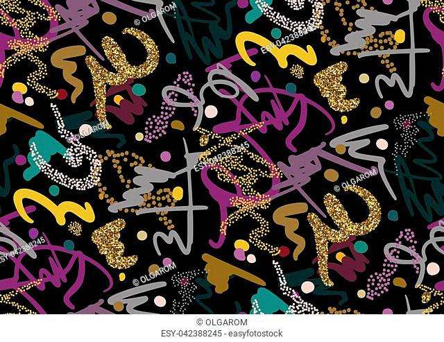 Vector seamless pattern with hand drawn gold glitter textured brush strokes and stripes hand painted. Black, gold, pink, green, blue colors