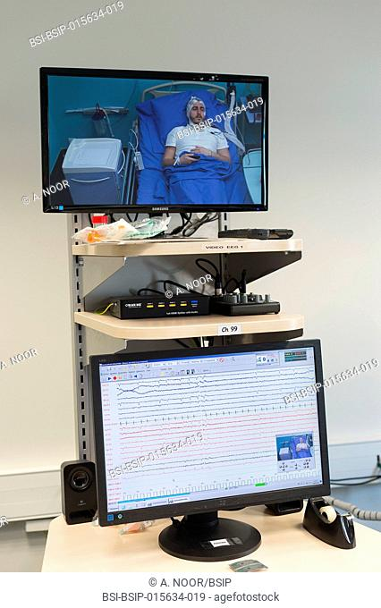 Reportage in the epileptology unit in Nice Hospital, France. The control room. The control room is used during long-term EEGs, which last between 24h and 5 days