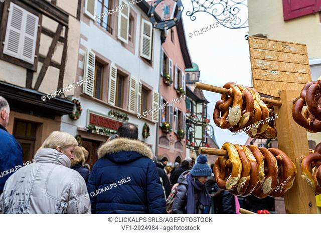 The typical bakery product called Bretzel in the old town of Kaysersberg Haut-Rhin department Alsace France Europe