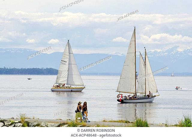 Boaters and walkers enjoy summer on the Malaspina Straight off Willingdon Beach in Powell River, on British Columbia's Sunshine Coast