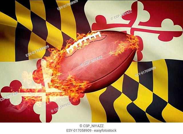American football ball with flag on backround series - Maryland