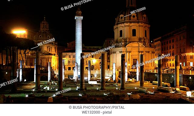 The ancient Roman Forum at night