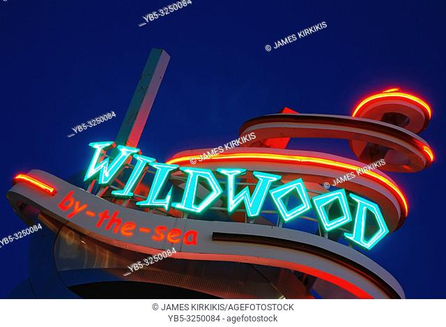A funky, Doo-Wop inspired sign welcomes visitors to Wildwood by the Sea, New Jersey