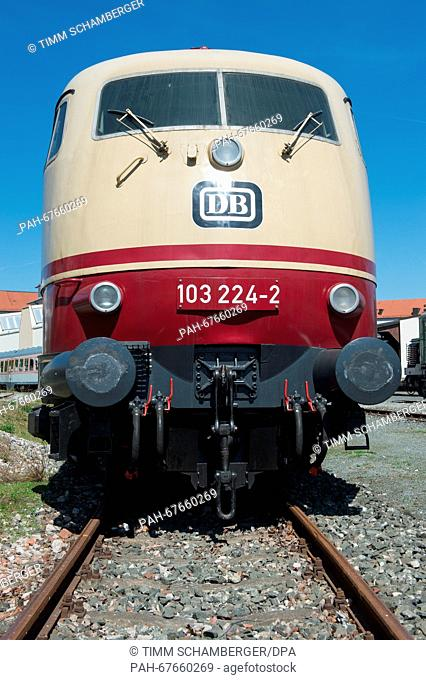 The historic electric locomotive from Deutsche Bahn (DB) series 103 with serial number 103 224 can be seen at the open air site of the Deutsche Bahn museum in...