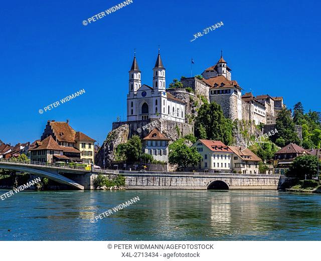 View of the fort Aarburg, Canton of Aargau, Switzerland, Europe