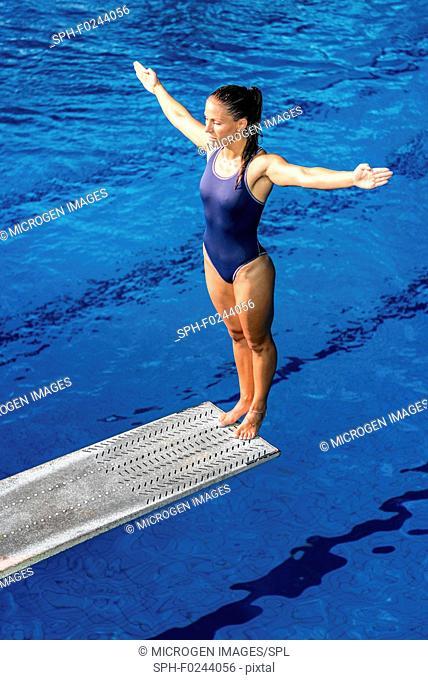 Female diver on springboard