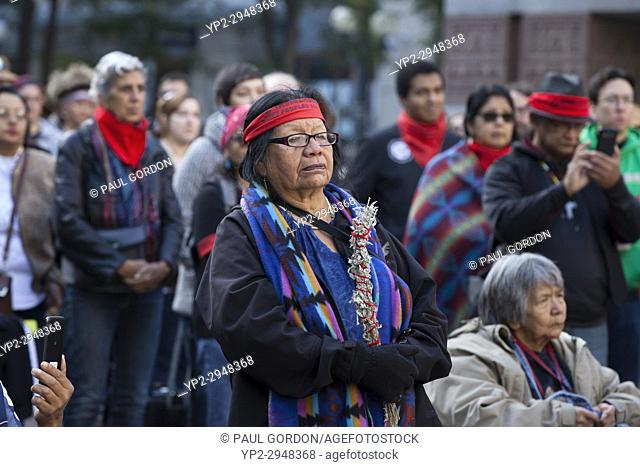Seattle, Washington: Tribe members and supporters gather at Westlake Park for the Indigenous Peoples' Day March and Celebration