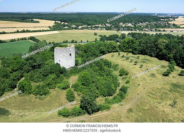 France, Eure, Neaufles Saint Martin, feudal fortress (aerial view)