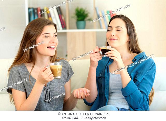 Two friends talking and enjoying a coffee cup sitting on a couch in the living room at home