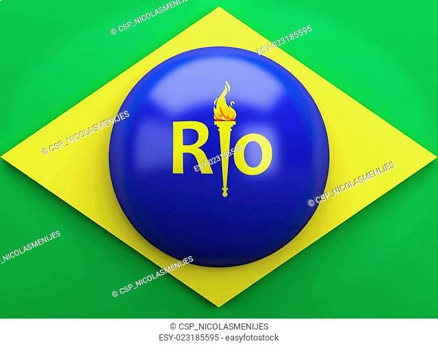 3d Brazil flag. Summer olympic games