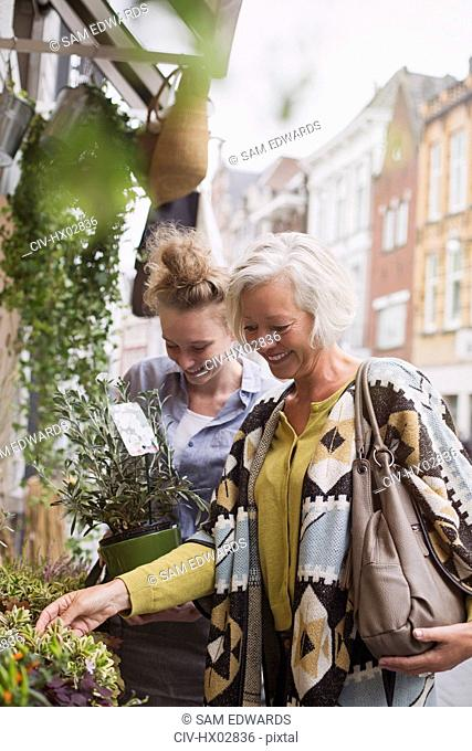 Female florist helping woman shopping for potted plants at storefront