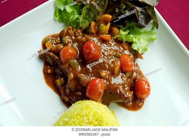 panang gai thai curry and rice