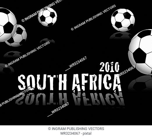 football concept for south africa with reflection amd soccer balls