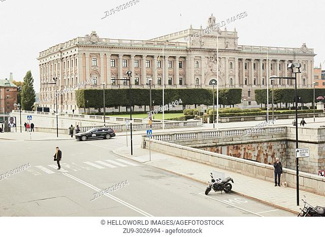Parliament House (Riksdagshuset), Helgeandsholmen, Stockholm, Sweden, Scandinavia. Designed by Aron Johansson in Neoclassical and Baroque revival style and...
