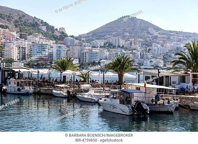 Small harbour, restaurant, promenade, Saranda, Albania