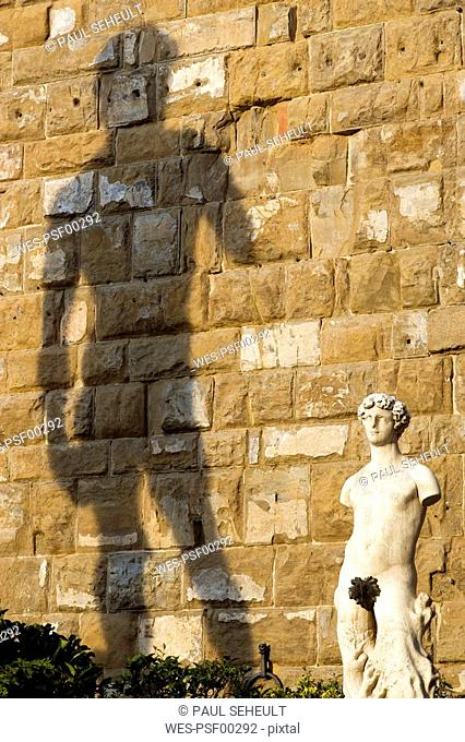Italy, Tuscany, Florence, Palazzo Vecchio, Statue of David in front of wall