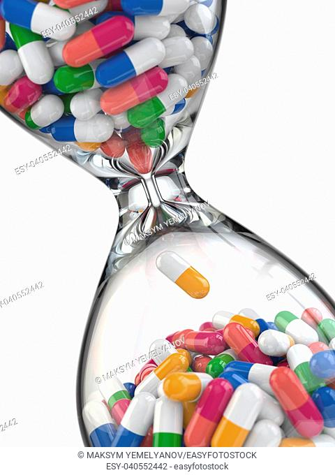 Time of medicine. Pills in hourglass. 3d