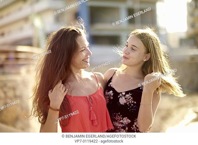 two women, best friends, together in holiday destination Chersonisoss, Crete, Greece