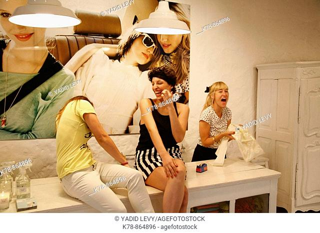 Women at Lupe Fashion shop in the trendy area of Palermo Viejo known as Soho  Buenos Aires, Argentina