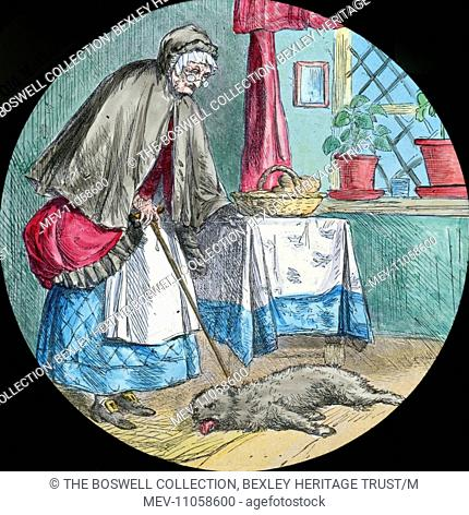 The poor dog was dead - old woman looking down on dog on the floorPart of Box 52 Boswell collection. Nursery Rhymes