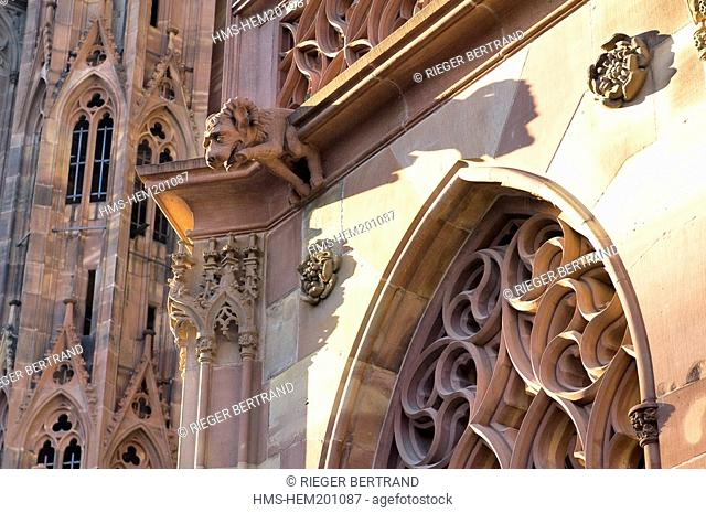France, Bas Rhin, Strasbourg, old town listed as World Heritage by UNESCO, Notre Dame Cathedral, gargoyles