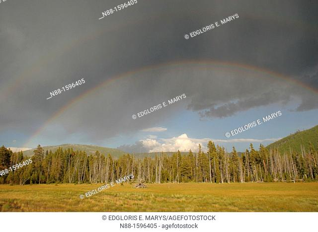Rainbow over Yellowstone, Wyoming, USA