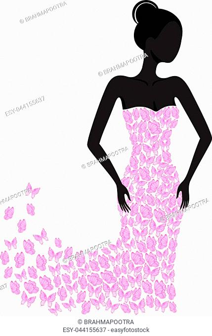 Silhouette of a girl in a butterfly dress flying apart. EPS8