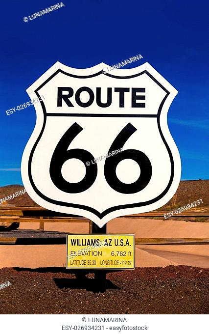 Route 66 road sign in Williams Arizona USA