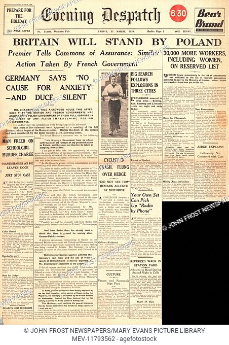 1939 Evening Despatch front page Britain to stand by Poland