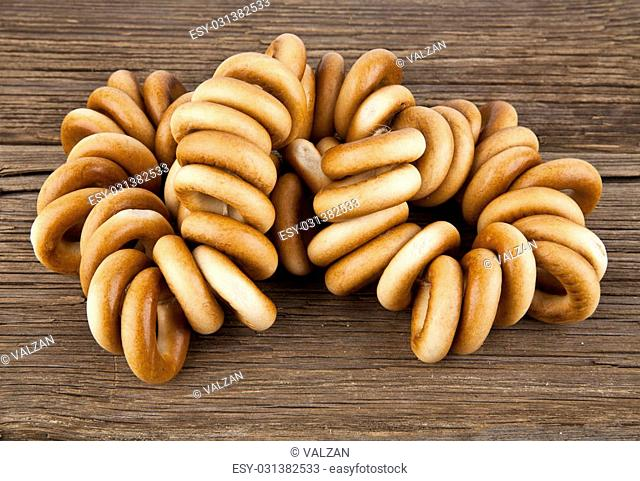 bagels on a wooden background