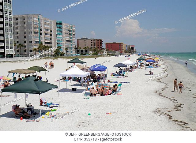 Florida, St  Saint Petersburg, Redington Shores, Gulf of Mexico, sunbathers, public beach