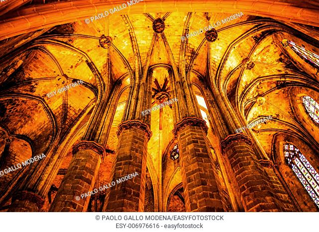 Interior of Santa Maria del Mar, the most beautiful gothic church in Barcelona