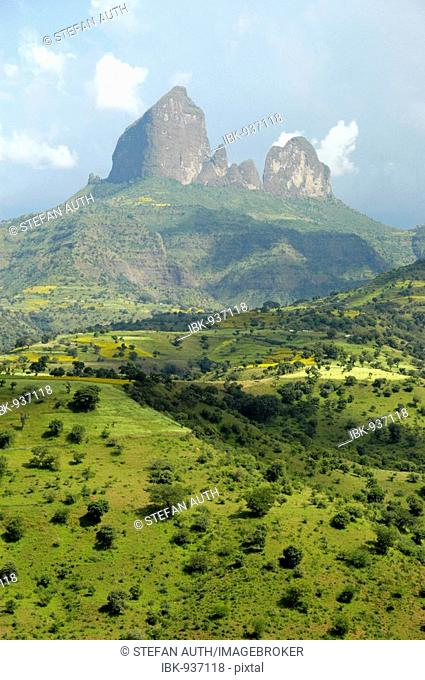 Mountain pinnacle in fertile mountainous landscape, Semien Mountains National Park, south of Aksum, Ethiopia, Africa