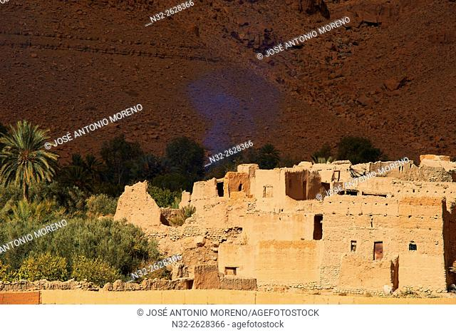 Ziz River, Oued Ziz, Gorges du Ziz, Ziz Valley, Ziz Gorges, Old Kasbah, Oasis, Tafilalet region, Morocco, North Africa