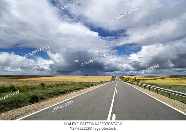Landscape with dramatic sky in vicinities of Zamora, Castile and Leon, Spain