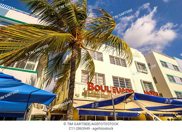 Colony and Boulevard Hotel, South Beach, Ocean Drive,Miami, Florida, USA