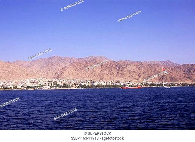 JORDAN, AQABA, RED SEA, VIEW OF CITY