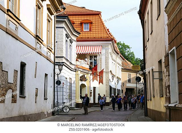 Lively street in the old town. Vilnius, Vilnius County, Lithuania, Baltic states, Europe