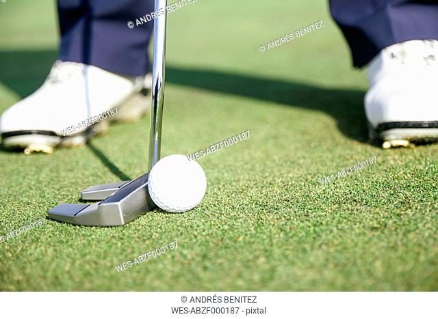 Close up of a golfer ready to hit a golf ball on the green of a golf course