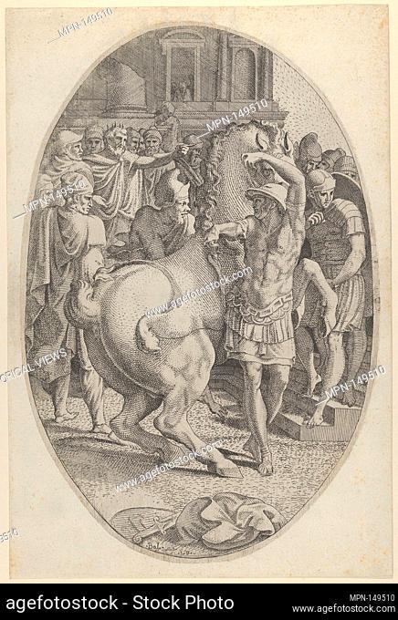 Alexander Mastering Bucephalus. Artist: Léon Davent (French, active 1540-56); Artist: After Francesco Primaticcio (Italian, Bologna 1504/5-1570 Paris); Date: ca