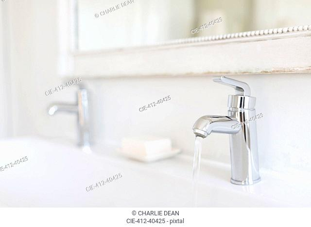 Luxury, modern stainless steel bathroom faucet