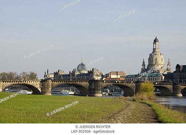 City view with the Elbe River, Elbe meadows, Augustus Bridge, Lipsius Bau, Frauenkirche, Church of our Lady, Dresden, Saxony, Germany