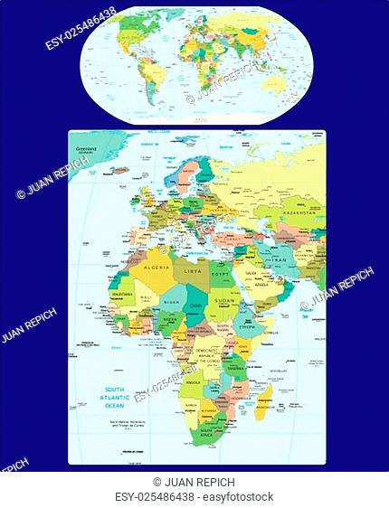 World Europe and Africa region map