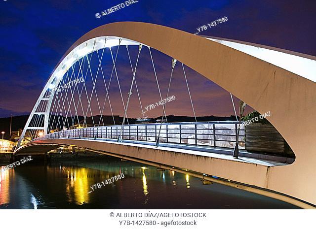 Bridge on the River Plentzia in Bizkaia at sunset